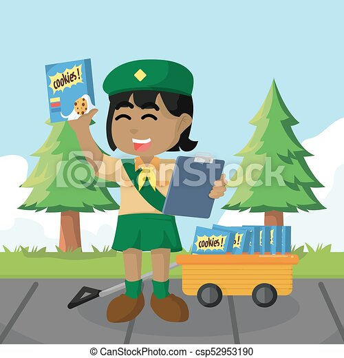 African girl scout selling cookies - csp52953190
