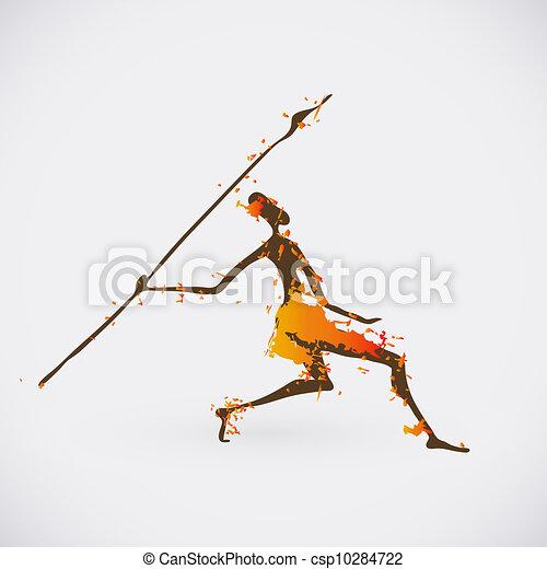 African Hunter Tribal Vector Illustration. Traditional Culture Creative Symbol. - csp10284722