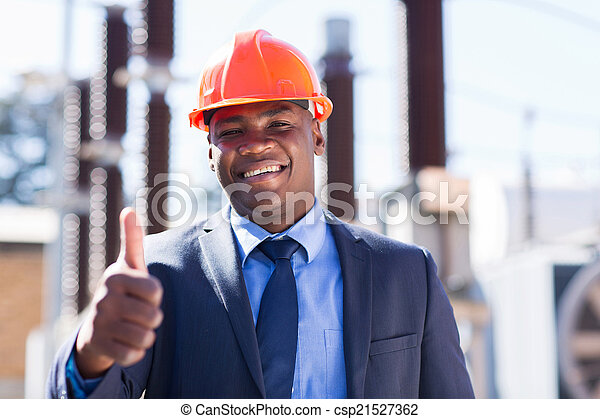 african industrial manager with thumb up - csp21527362