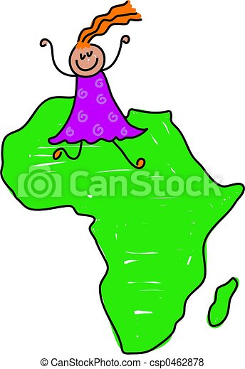 Kid Map Of Africa.African Kid Happy Little Girl Walking On A Map Of Africa Toddler