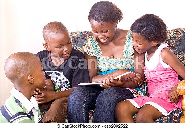 african kids reading - csp2092522