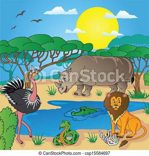 African landscape with animals 02 - csp15584697