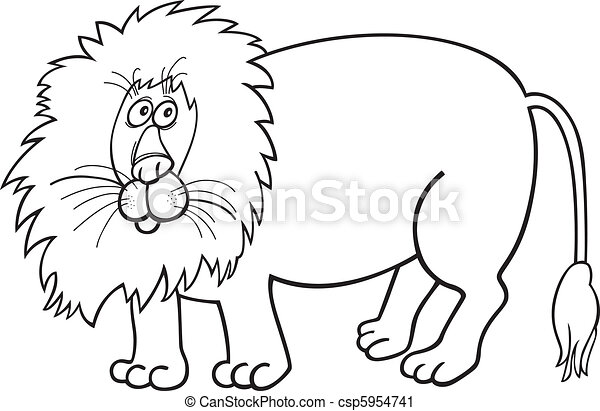Illustration of african lion for coloring book vector clip art ...