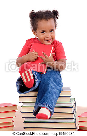 African little girl sitting on many books - csp19450934