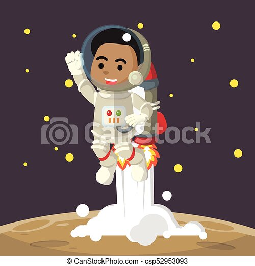 African looking male astronaut riding jetpack - csp52953093