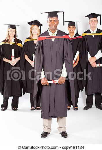 African male graduate with classmates  - csp9191124
