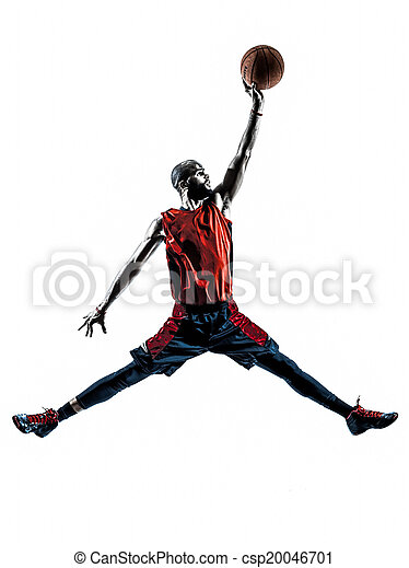 african man basketball player jumping dunking silhouette - csp20046701