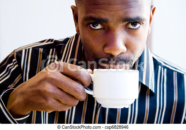 african man drinking coffee - csp6828946