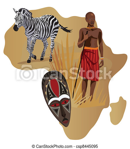 african man  zebra and mask illustration with africa map african clip art free african clip art borders free