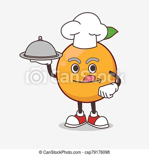 African Mangosteen cartoon mascot character as a Chef with food on tray ready to serve - csp79176098