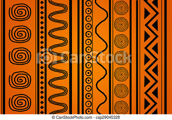 African Pattern Black Ethnic Patterns On An Orange Background Delectable African Patterns