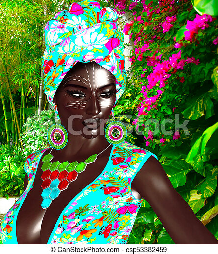 African Queen, Black Fashion Beauty. - csp53382459