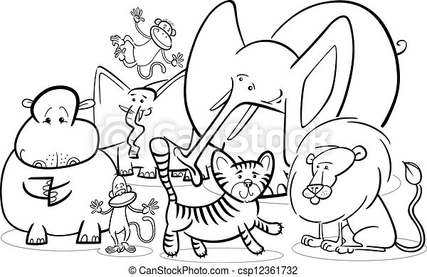 African safari animals cartoon for coloring. Black and white cartoon ...