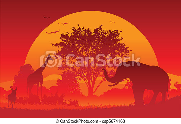 Line Drawings Of African Animals : African safari. animals gather at an sunset. created