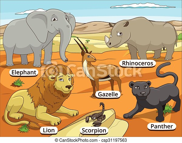 Line Drawings Of African Animals : African savannah animals with names cartoon colorful vector clip