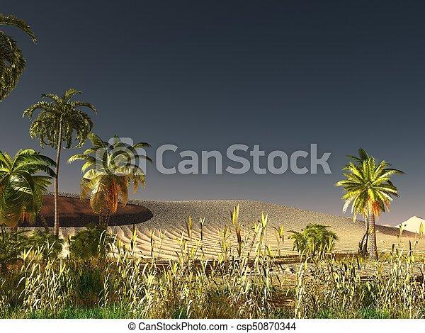 African savannah with abundant and vivid plant life 3d rendering - csp50870344