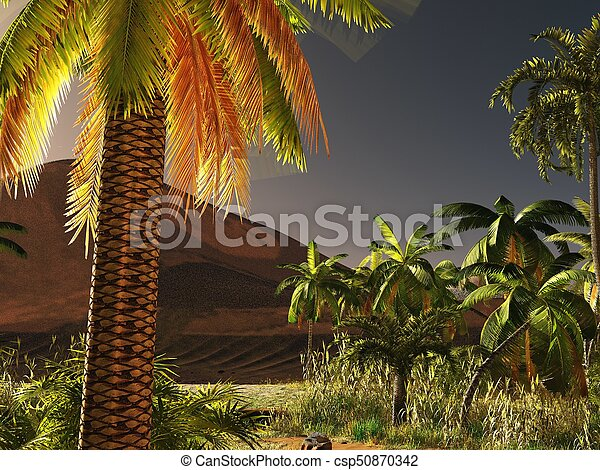 African savannah with lush and vibrant plant life 3d rendering - csp50870342