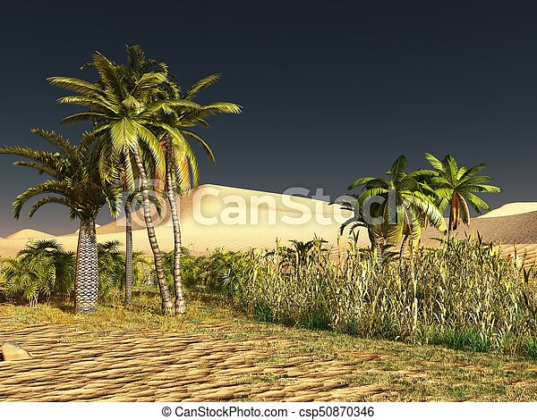 African savannah with rich and radiant plant life 3d rendering - csp50870346