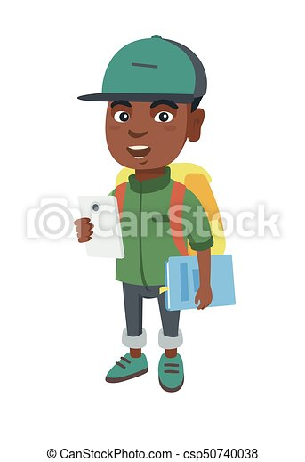 African schoolboy holding cellphone and textbook - csp50740038