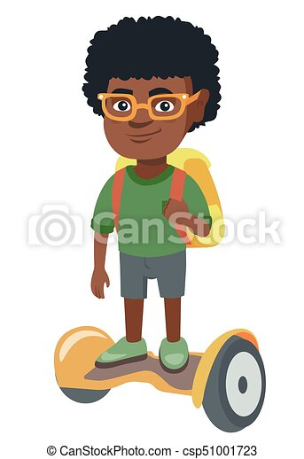 African schoolboy riding on gyroboard to school. - csp51001723