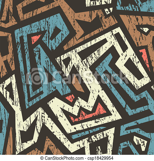 african seamless pattern with grunge effect - csp18429954