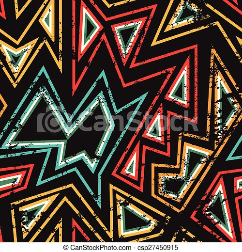 african seamless pattern with grunge effect - csp27450915