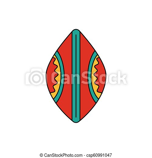 African shield icon, cartoon style