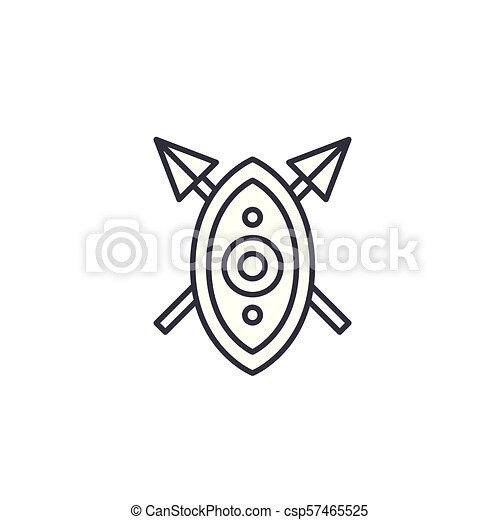 African shield spears linear icon concept  African shield spears line  vector sign, symbol, illustration