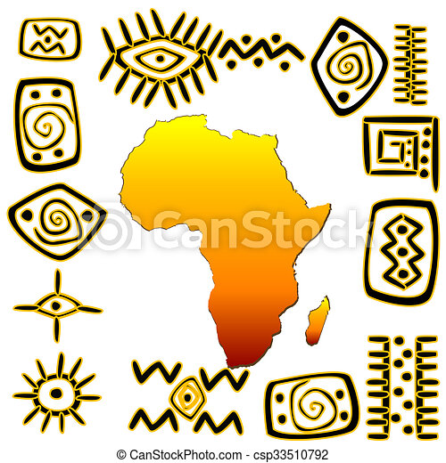African Symbols Set With Africa Map