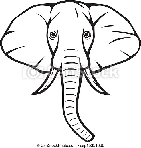 African t te elephant l phant - Dessin d un elephant ...