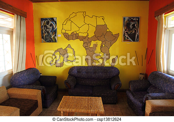 African Themed Living Room with Mural