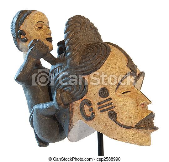 African traditional sculpture mother and son clay maternity symbol - csp2588990