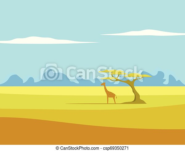 African Vector Landscape Giraffe Tree African Vector Landscape With Giraffe And Tree Standing In The Middle Of Savannah And Canstock We have 291 free africa tree vector logos, logo templates and icons. can stock photo