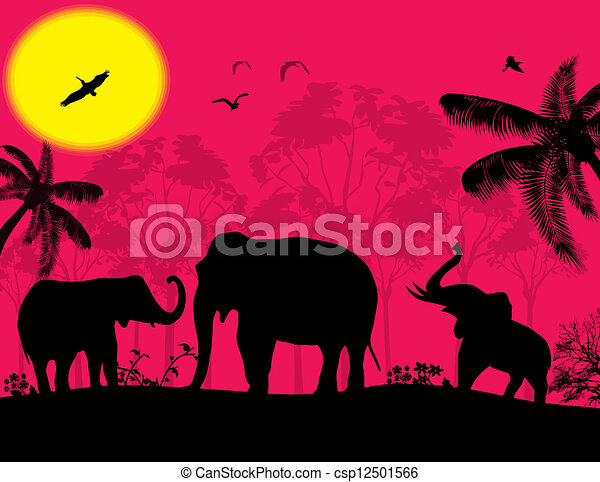 Line Drawings Of African Animals : African wildlife at sunset. pink sunset clip