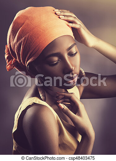 African woman, female portrait with saved skin texture - csp48403475