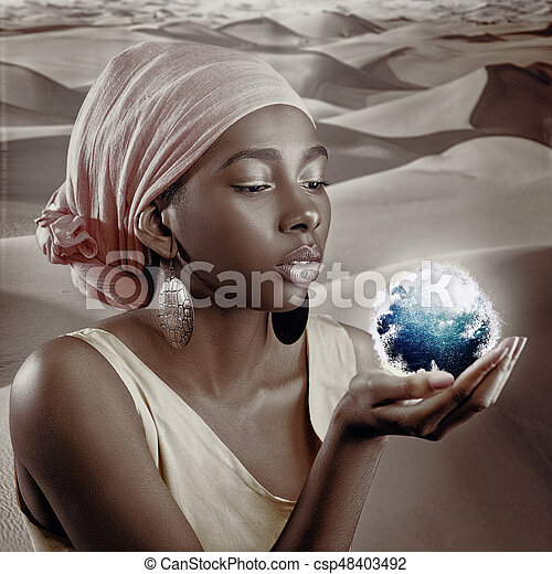 African woman, female portrait with saved skin texture and Earth globe - csp48403492