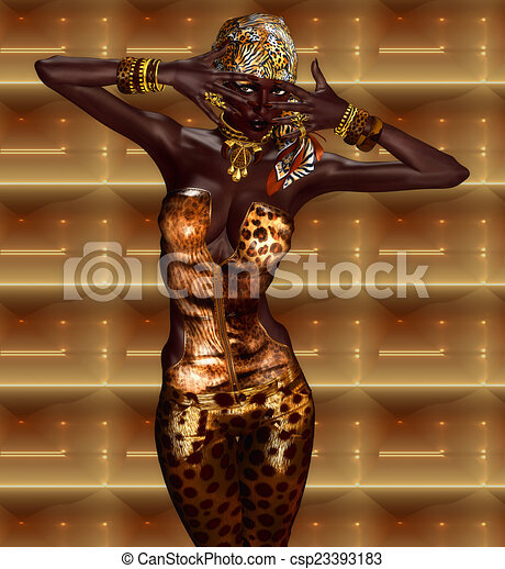 African Woman in Leopard Print - csp23393183