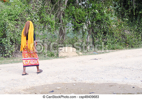 African woman looking back - csp48409683