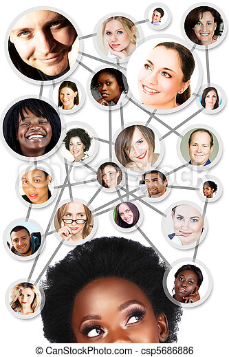 African woman social network diagram - csp5686886