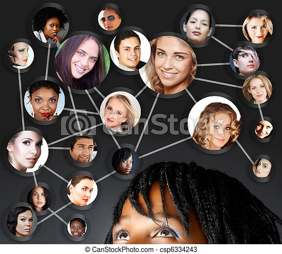 african woman social networking - csp6334243
