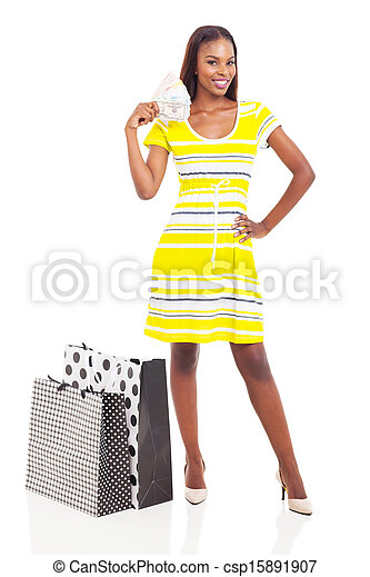 african woman with money to spend - csp15891907