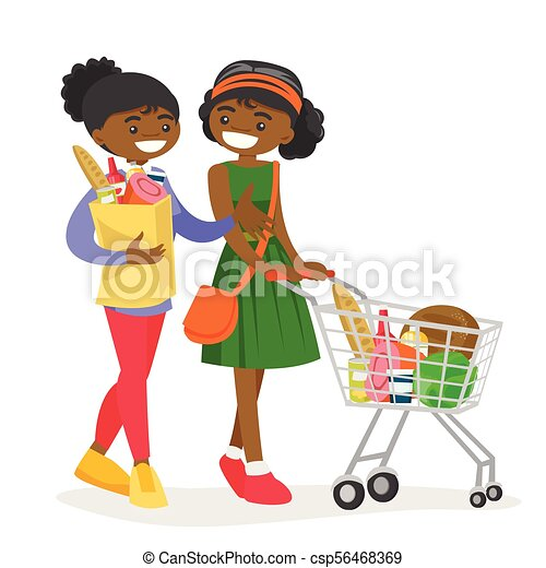 african women doing shopping at the grocery shop two young african rh canstockphoto com Cute Shopping Bag Clip Art Cute Shopping Bag Clip Art