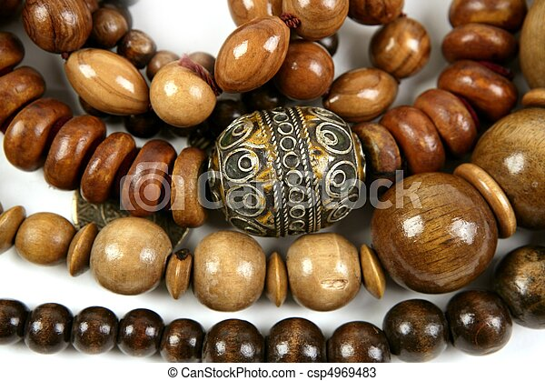 African wooden necklaces jewellery texture - csp4969483