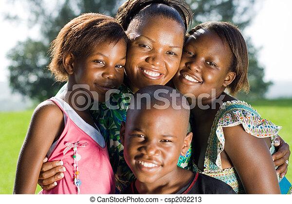 africano, crianças, mãe - csp2092213
