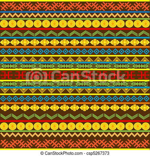 africano, patrón, multicolor, motivos, étnico - csp5267373