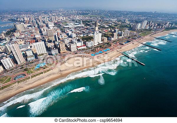 afrika, durban, luchtopnames, zuiden, aanzicht - csp9654694