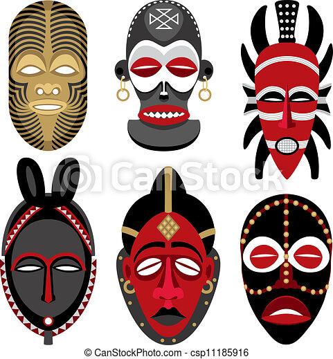 afrikanische masken 2. sechs afrikanische masken. keine