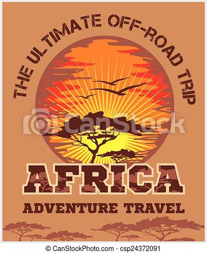 afrique, voyage, -, emblem., vecteur, de-route, extrême - csp24372091