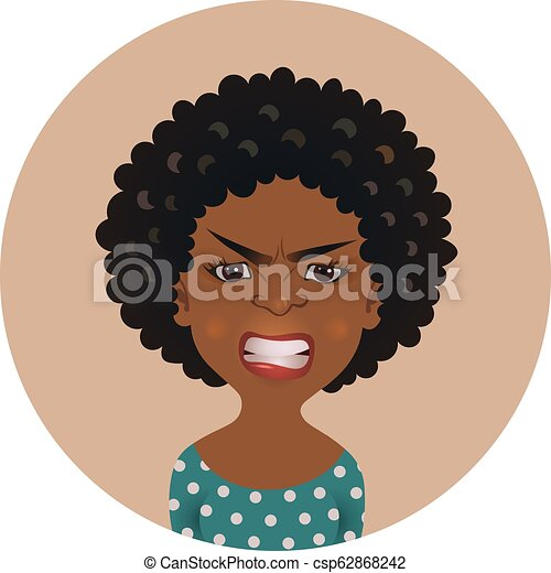 Afro American Angry Woman Face Avatar African Girl Anger Facial Expression Dark Skinned Person In Rage Isolated Vector