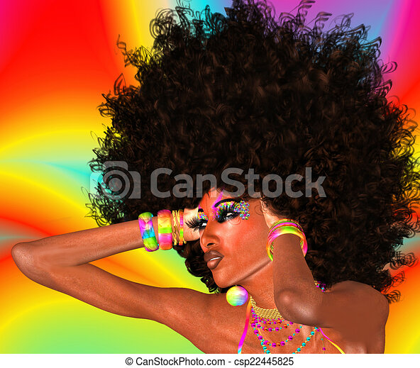 Afro Girl,Abstract Background - csp22445825
